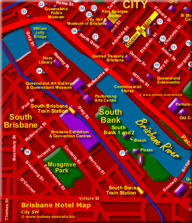 South Brisbane Hotels - Southbank - Click to Zoom Out