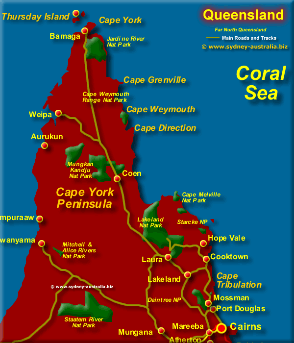 Map Of Australia Port Douglas.East Far North Queensland Map Qld