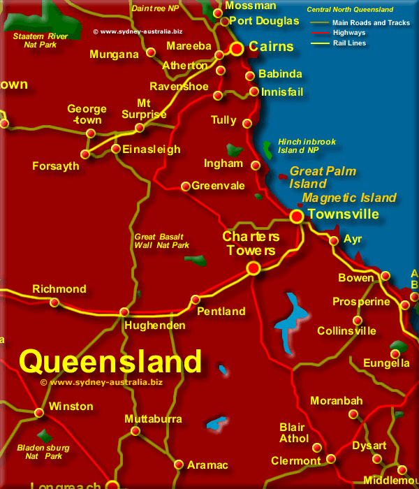 Central Queensland Map QLD