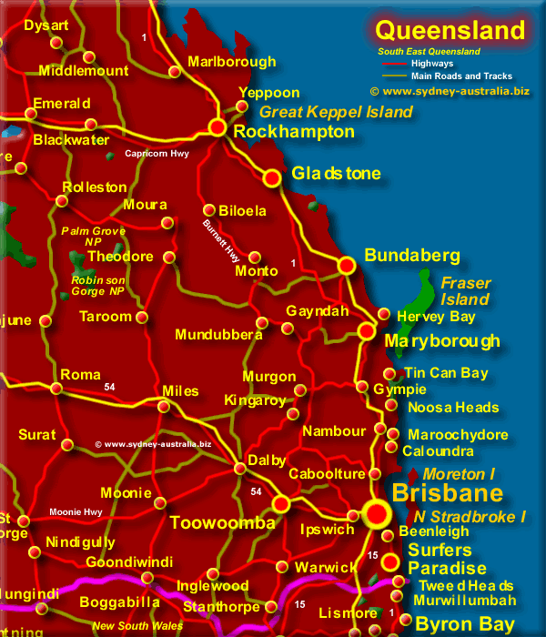 Map Queensland.South East Queensland Map