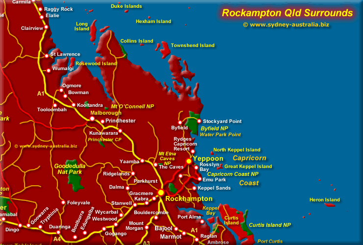 Rockhampton Qld Map Surrounds