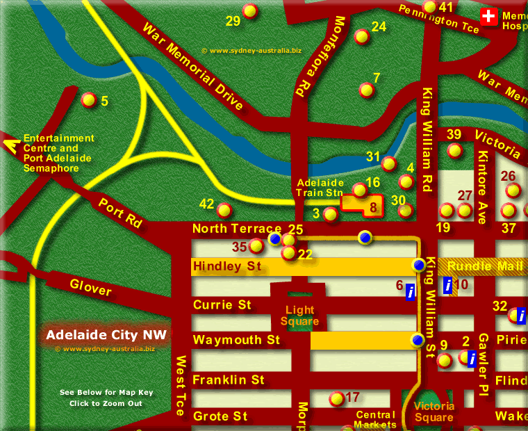 Map of Adelaide City Attractions NW - Click to Zoom Out