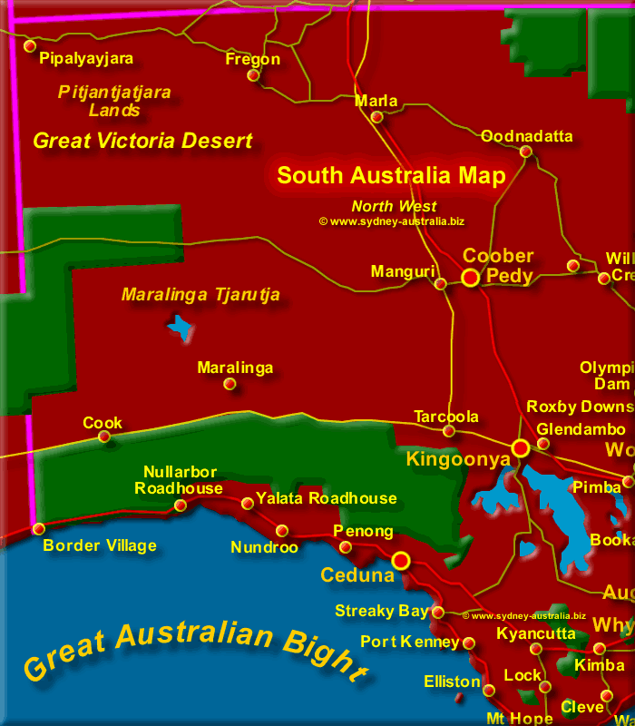 Map of South Australia North West - Click to Zoom Out