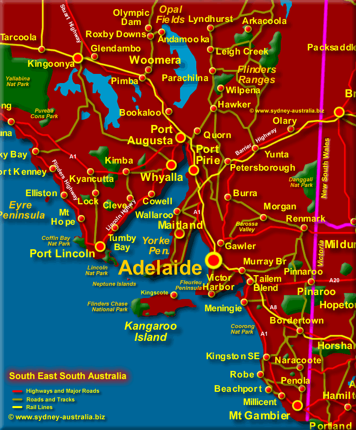 Map Eastern Australia.South East South Australia Map
