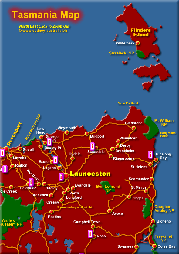 Map Tasmania showing tourist spots and Information