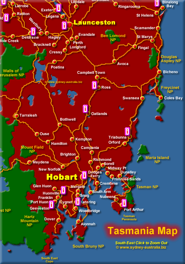 South East Tasmania - Click to Zoom Out