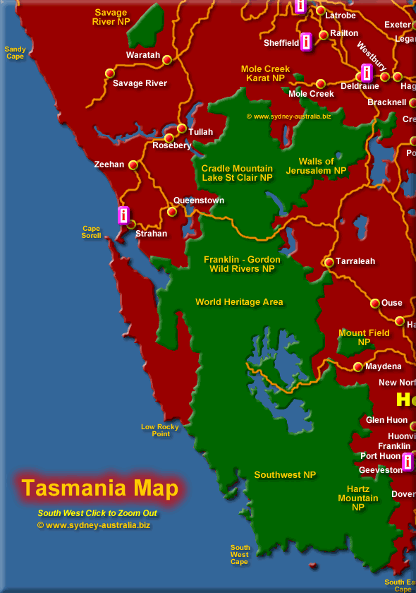 South West Tasmania - Click to Zoom Out