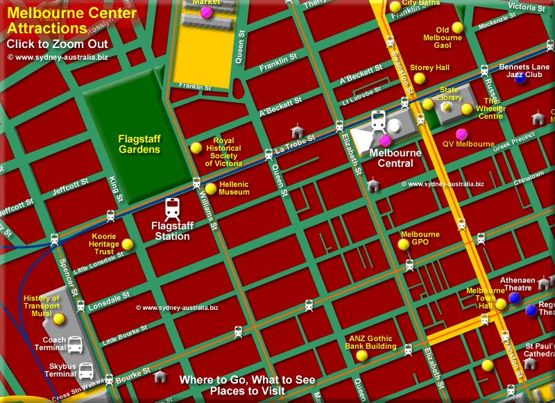 Melbourne CBD Centre Attractions - Click to Zoom Out © www.sydney-australia.biz