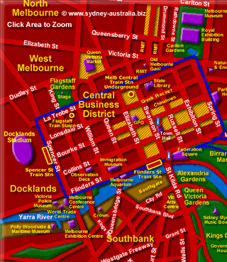 Melbourne City Map - Places To Visit on