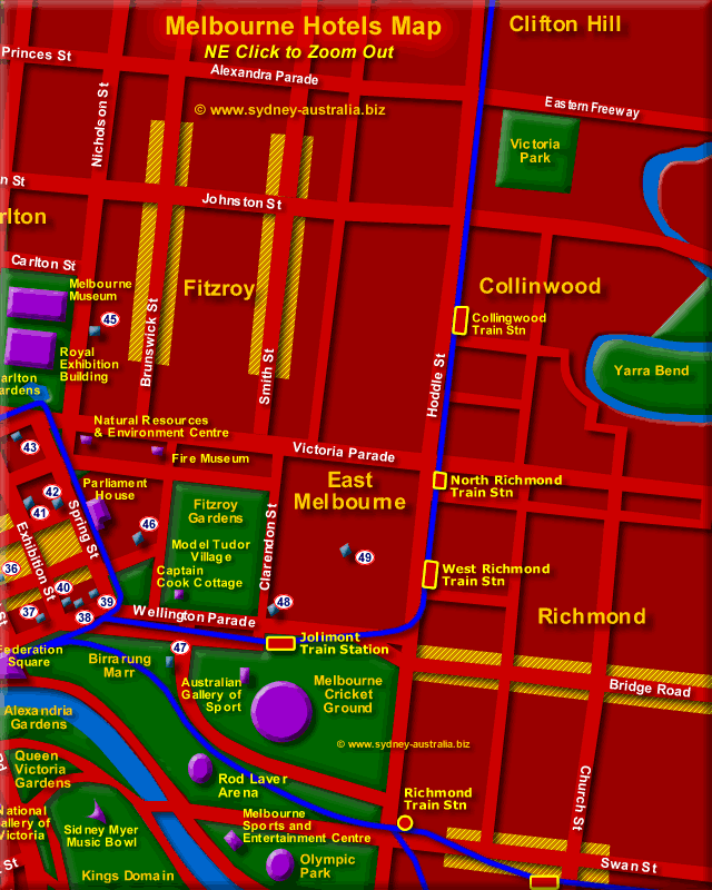 Hotels in Melbourne Map - Click to Zoom Out