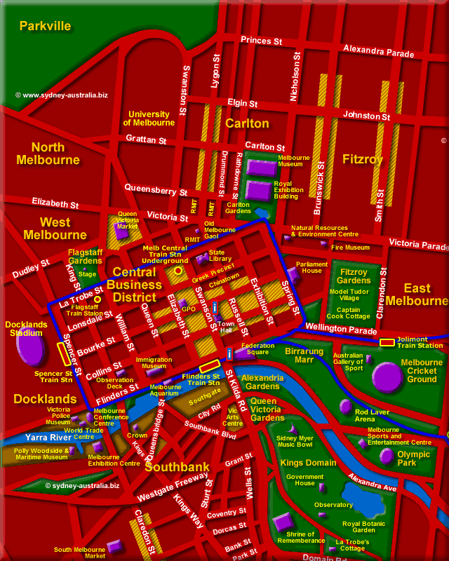 Map of Melbourne Victoria Tourist Guide