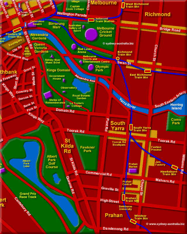 Australia Map Melbourne.Melbourne Australia Map Showing Location Of City Attractions