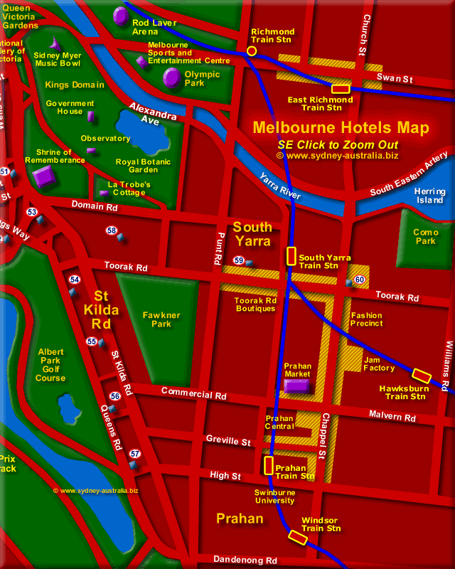 Hotels in Melbourne South- Click to Zoom Out