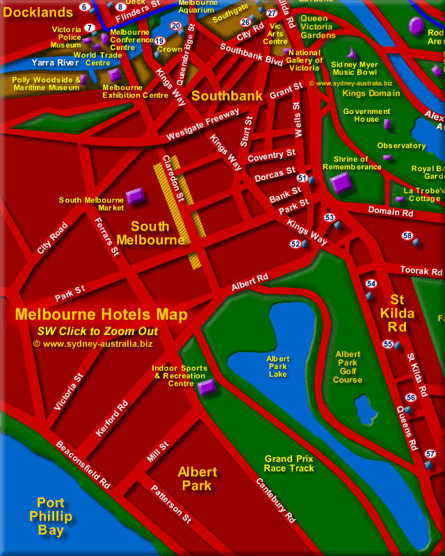 Map Showing South Melbourne Hotels - Click to Zoom Out