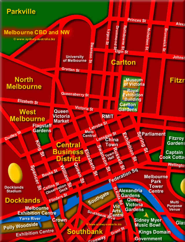 Melbourne map, North West- Click to Zoom Out