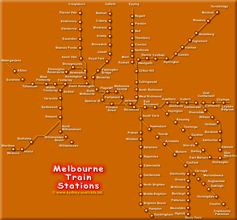Melbourne Map of Train Stations