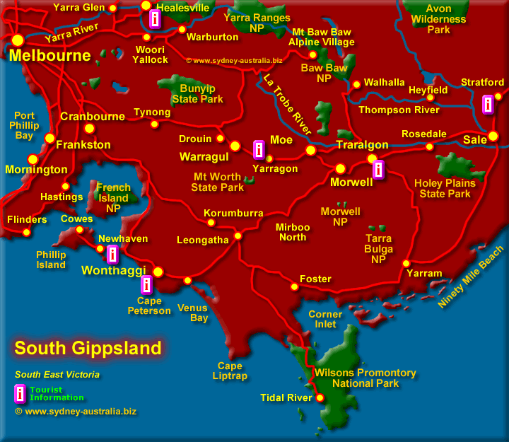 South Gippsland Map East Coast of Australia