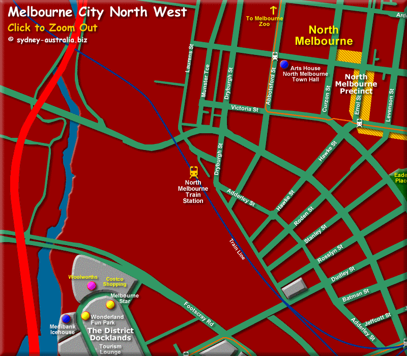 Map of Melbourne North West CBD - Click to Zoom Out