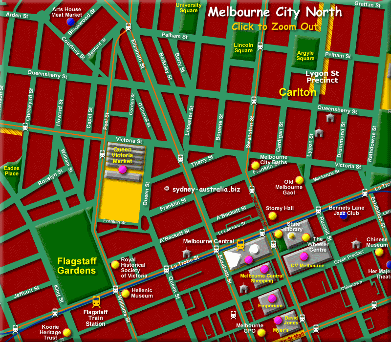 Map of North Melbourne City - Click to Zoom Out