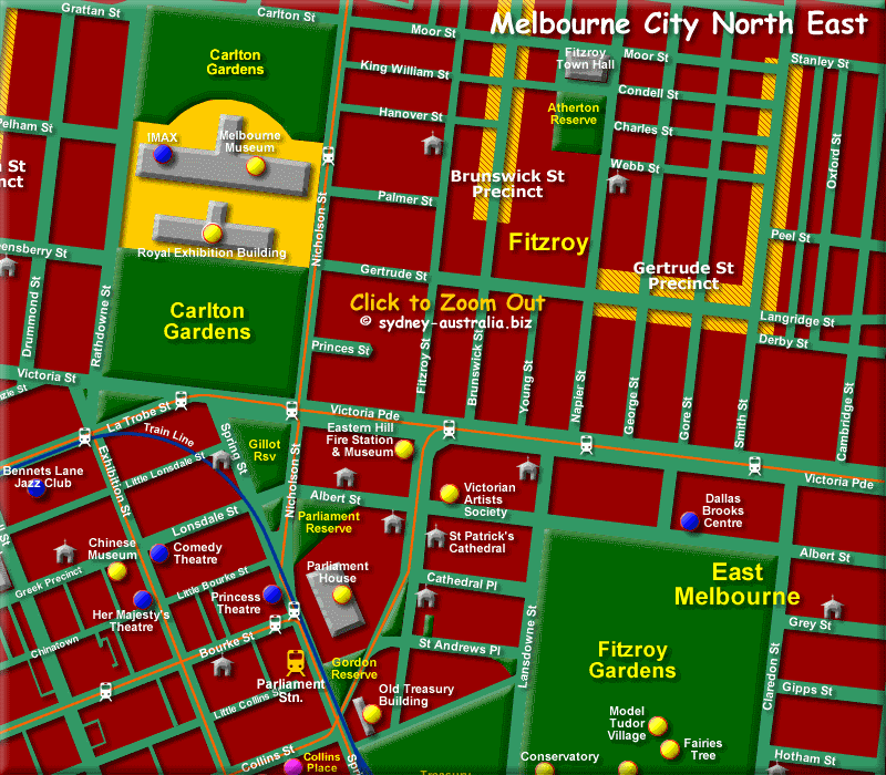 Map of North East Melbourne CBD - Click to Zoom Out
