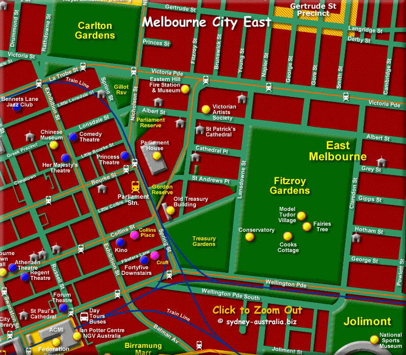 East Melbourne Map of the CBD - Click to Zoom Out
