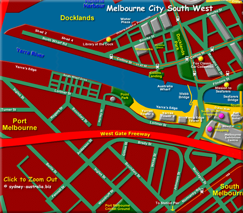 City of Melbourne Map (South West) - Click to Zoom Out