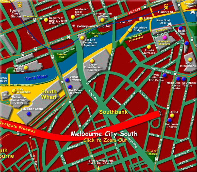 Map of South Melbourne CBD - Click to Zoom Out