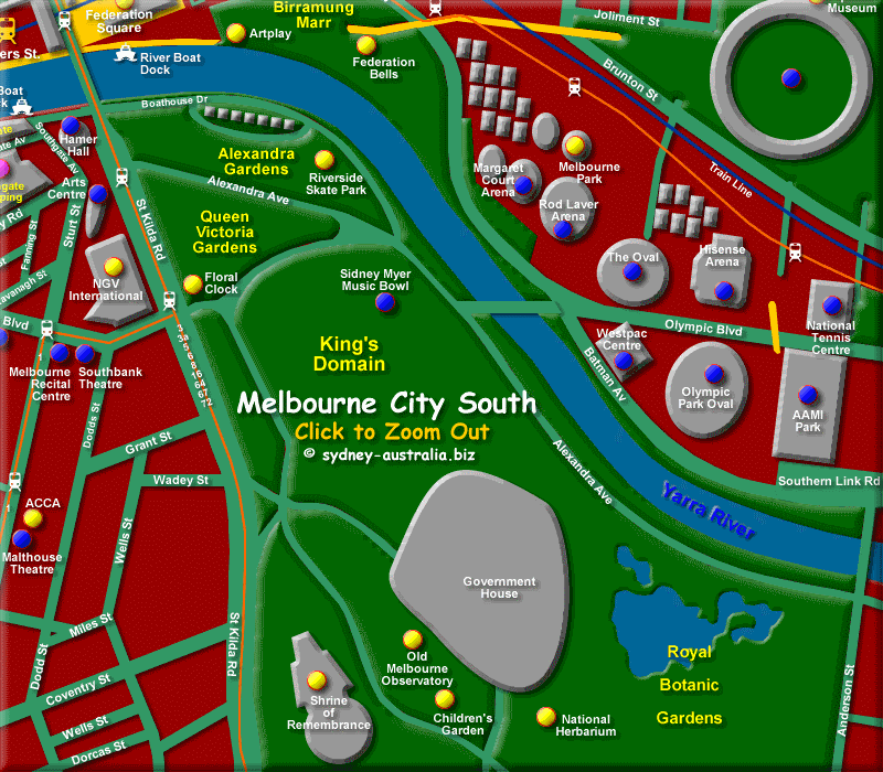 Map of South East Melbourne CBD - Click to Zoom Out