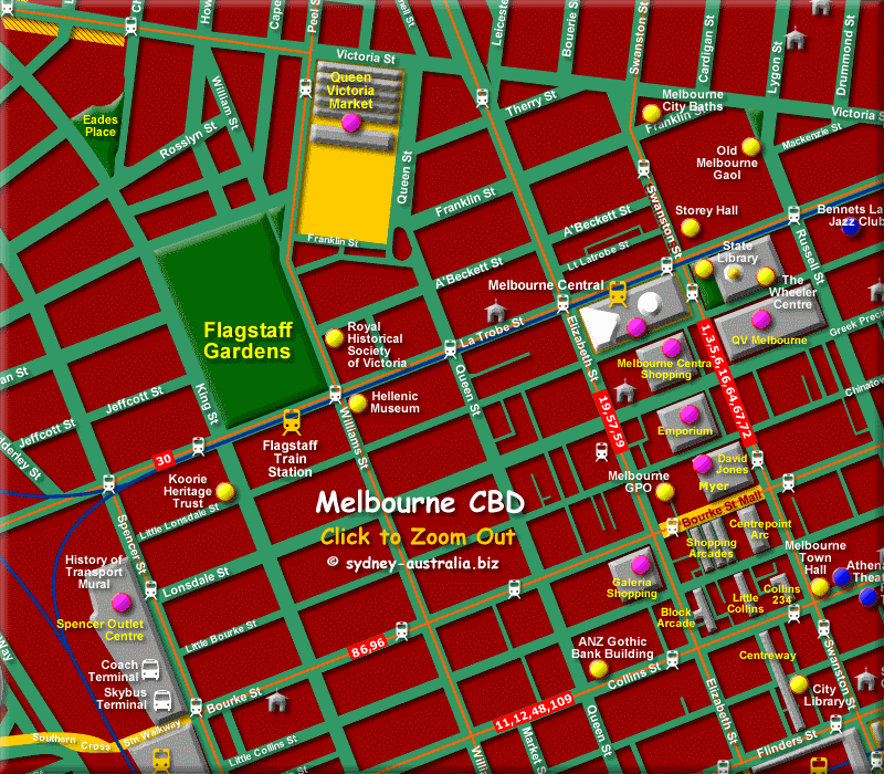 Melbourne CBD Map - Click to Zoom Out