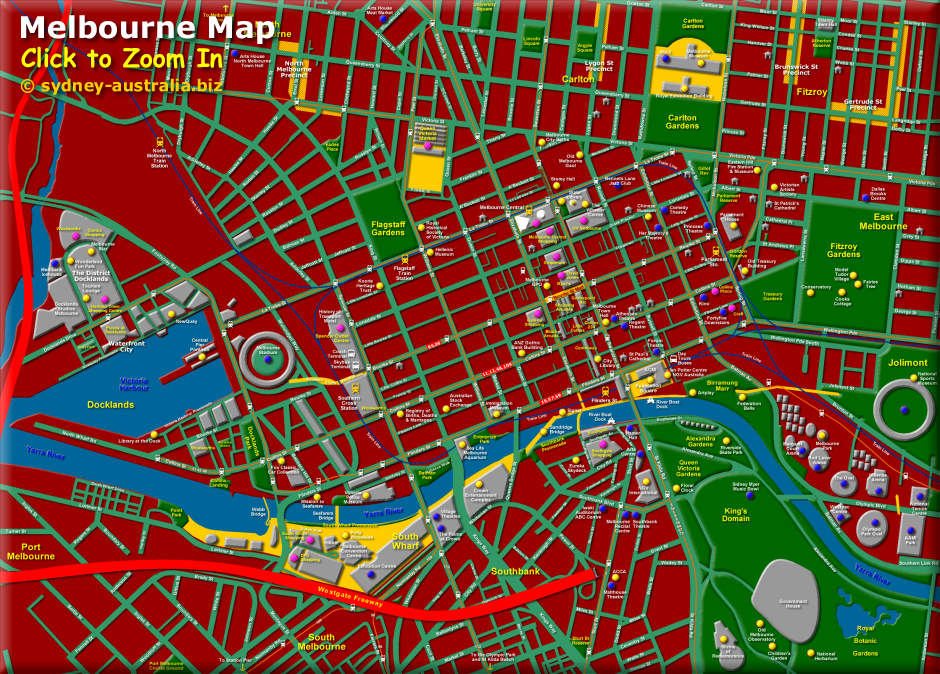 Melbourne Visitors Map of the CBD and surrounds, Click to Zoom In