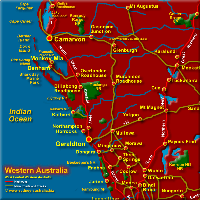 Map of Central West Western Australia - Click to Zoom Out