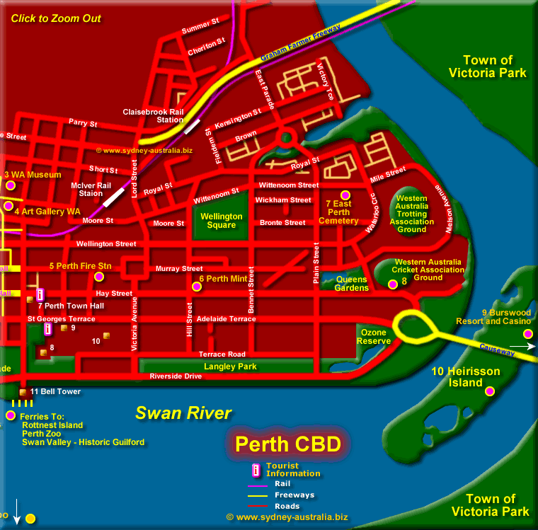 Perth Cbd Map East Perth CBD Map