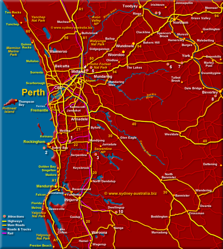 Map of Perth - Click to Zoom In to CBD