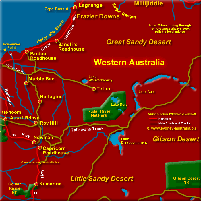 Map of Central Western Australia, North - Click to Zoom Out
