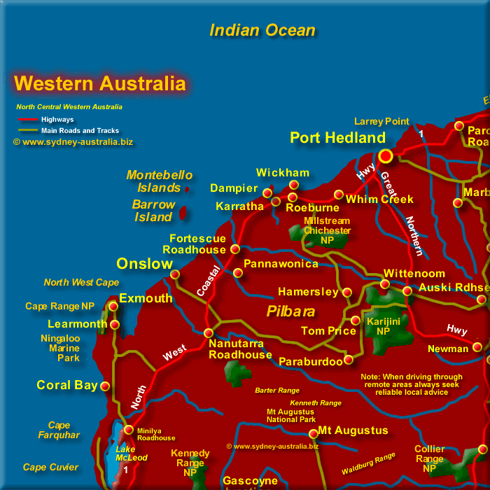 Map of Mid North West Western Australia - Click to Zoom Out