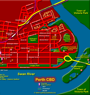 Perth Cbd Map Perth Map showing CBD and Tourist Attractions