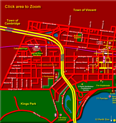 Map Of Australia Showing Perth.Perth Map Showing Cbd And Tourist Attractions