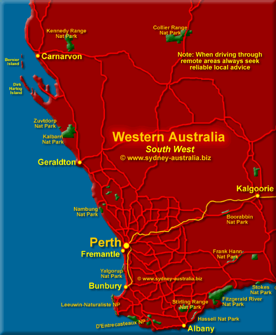 Map of Western Australia - South West - Click to Zoom Out