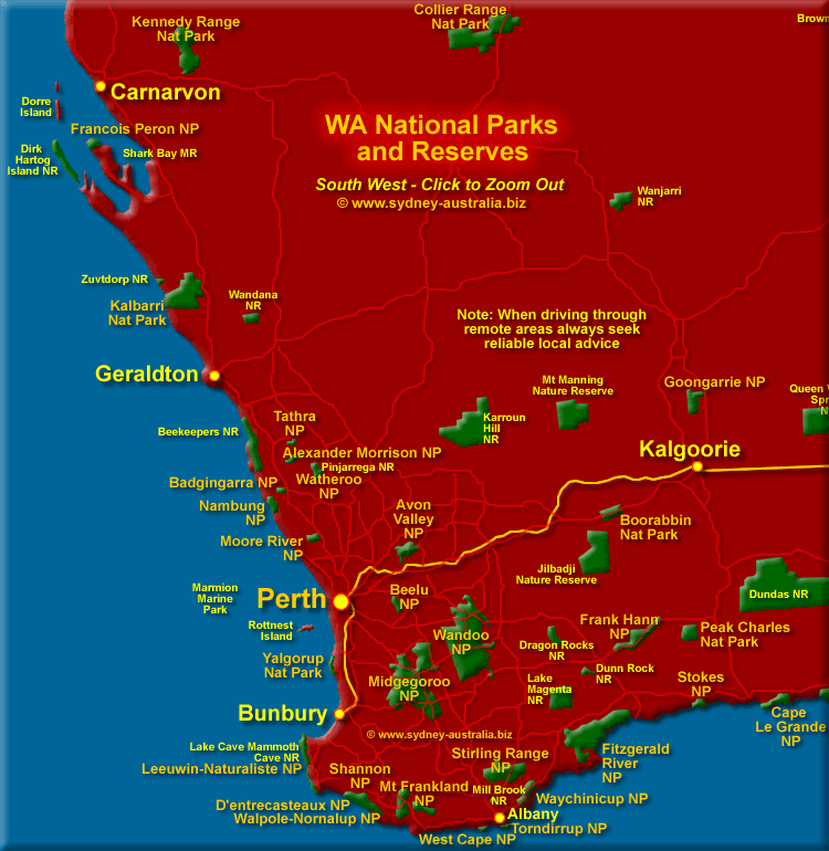 Parks and Reserves in the South West of Western Australia. Click to Zoom Out