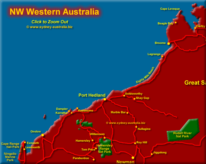 map of western australia north west click to zoom out