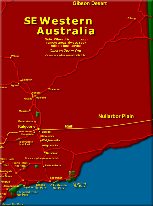 Western Australia Map SE - Click to Zoom Out