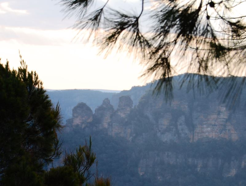 The Three Sisters stand prominently in the World Heritage Area of the Blue Mountains.