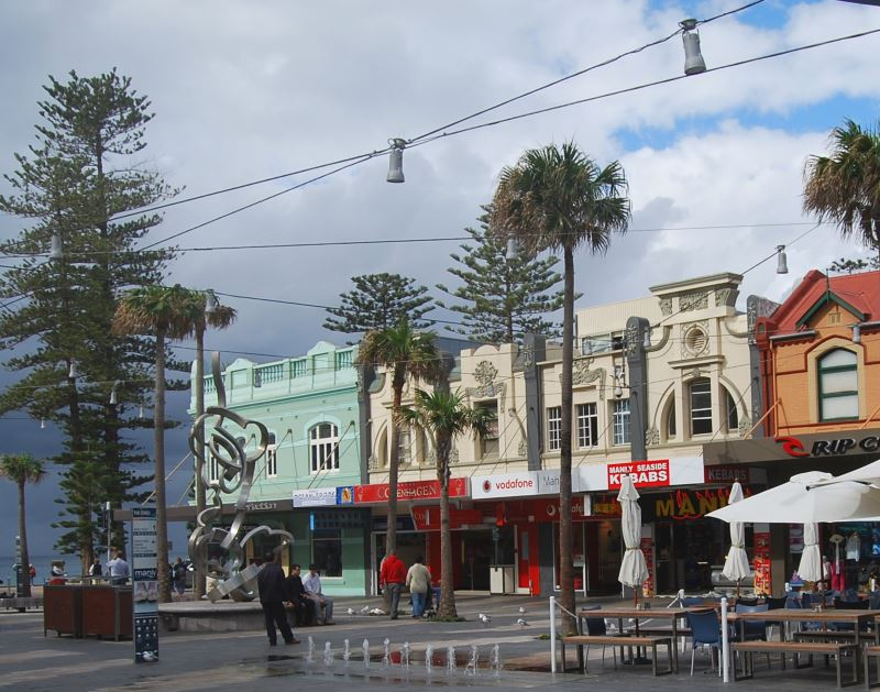 On the Corso in Manly, there are Pubs, take-aways and places to eat as well as on the Beachfront