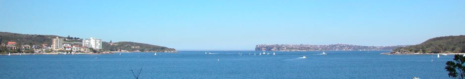 Sydney Harbour Ocean Outlet, North Head is on the left, South Head on the Right, with Middle Head on the extreme Right