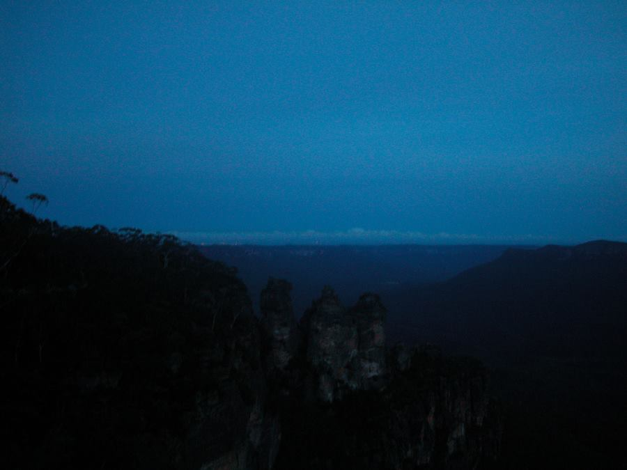 Just after Sunset: The Three Sisters, Formed from Ancient Sandstone.