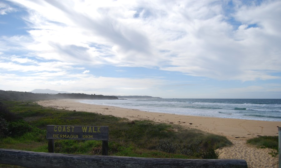 With Mount Gulaga in the Distance, the Bermagui Coastal Walk starts here at Cuttagee Beach.