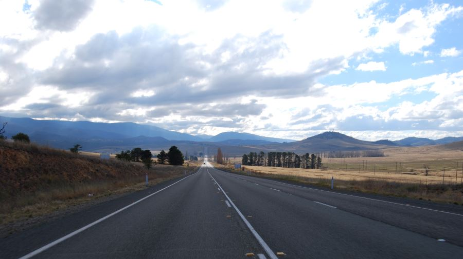 Monaro Highway: Heading North, on the way to Canberra. These mountains began to form 800 to 400 million years ago.