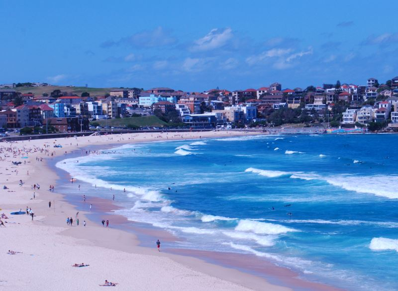 Another Glorious Day at Bondi. View of the Northern end of the Beach.