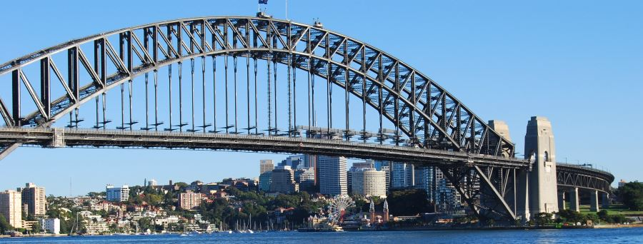 Under the Sydney Harbour Bridge, Luna Park as seen from the Sydney Opera House