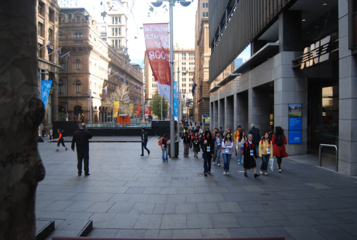 Martin Place in Sydney. Sydney hosts international world events through the year, including the World Youth Day in 2008.